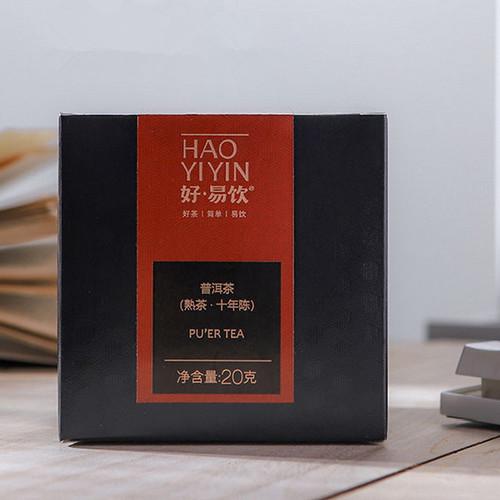 MENGKU Brand Hao Yi Yin Ten Years Chen Pu-erh Tea Tea Bag 2020 20g Ripe