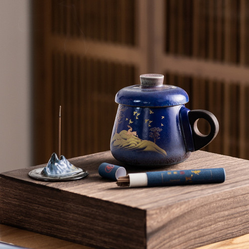 Golden Deer Ceramic Kungfu Tea Tea Mug Set
