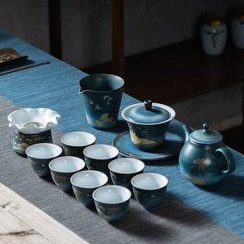 Golden Deer Set Ceramic Kungfu Tea Teapot And Teacup Set