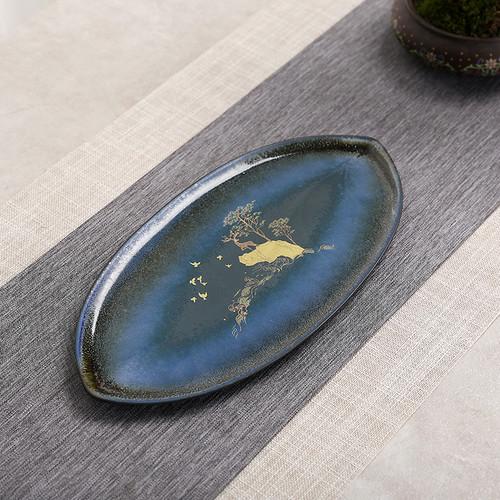 Golden Deer Lotus Leaf Ceramic Serving Tray 273x130x11mm