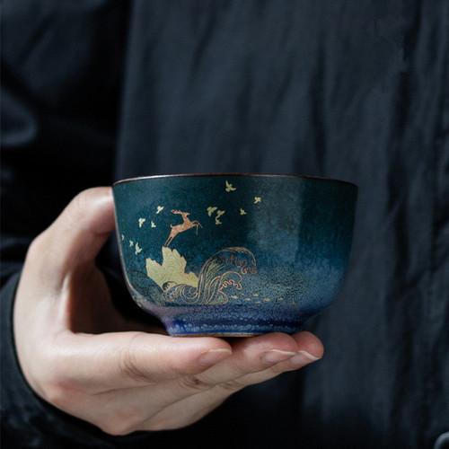 Golden Deer Jing Zhi Ceramic Gongfu Tea Tasting Teacup 85ml