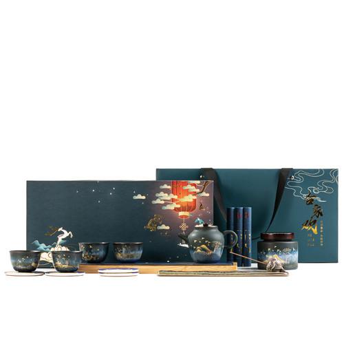Golden Deer He Jia Huan Ceramic Kungfu Tea Teapot And Teacup Set
