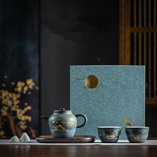 Golden Deer Ceramic Kungfu Tea Teapot Tray & Teacups Set