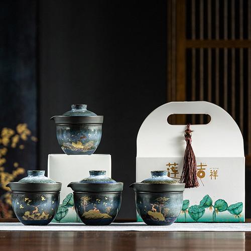 Golden Deer Ceramic Kungfu Tea Teapot And Teacup Set