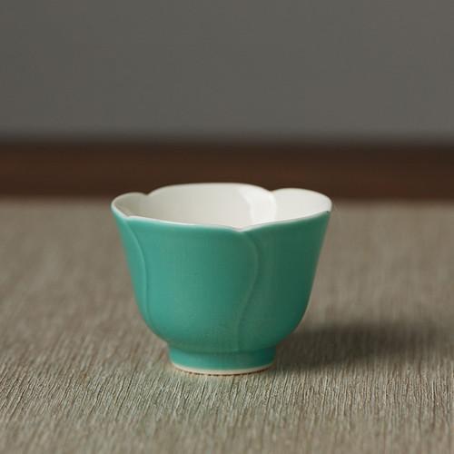 Turquoise Green Petals Porcelain Gongfu Tea Tasting Teacup 30ml