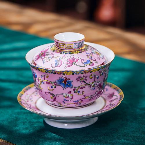 Enamel Painted Miao Jin Ceramic Gongfu Tea Gaiwan Brewing Vessel