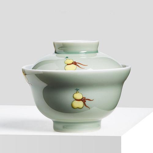 Hand Painted Gourd Ceramic Gongfu Tea Gaiwan Brewing Vessel 120ml