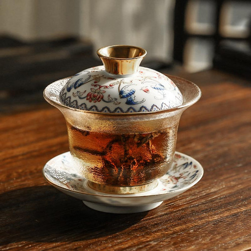 Jin Quan Enamel Color Ceramic Gongfu Tea Gaiwan Brewing Vessel
