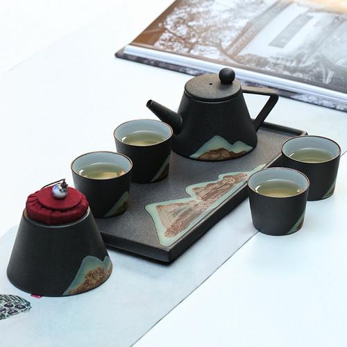 Gao Shan Liu Shui Ceramic Kungfu Tea Teapot And Teacup Set