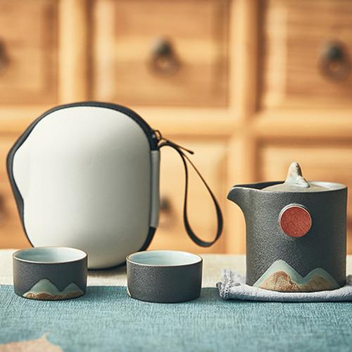 Portable Gao Shan Liu Shui Ceramic Kungfu Tea Teapot And Teacup Set