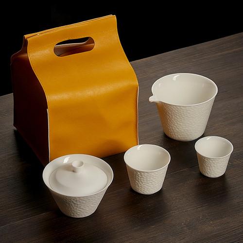 Suet White Porcelain Kungfu Tea Teapot And Teacup Set