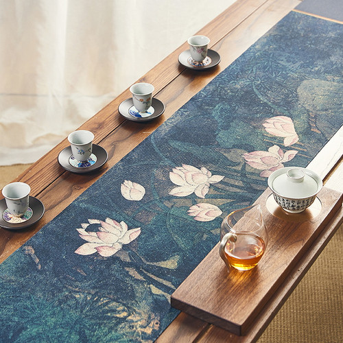 Chinese Ink Style Cotton Linen Placemat for Gongfu Tea Ceremony