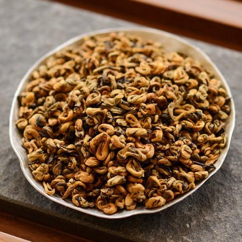 Premium Golden Snail Dian Hong Jin Luo Handmade Pure Bud Yunnan Black Tea 500g 1.1 lb