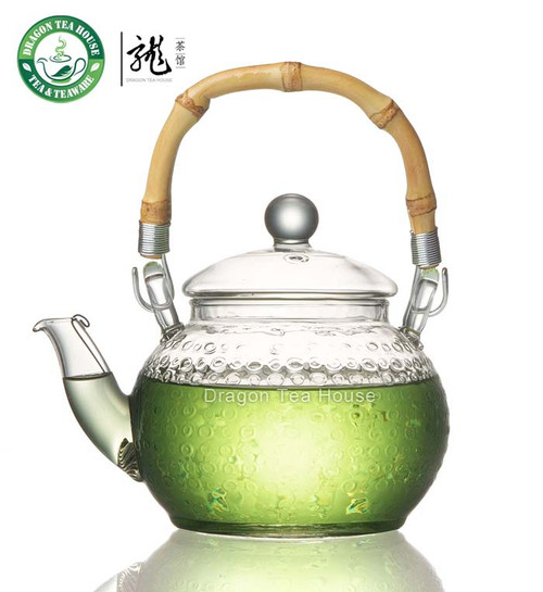 Bamboo Handle Clear Glass Teapot 600ml FH-716MNTS