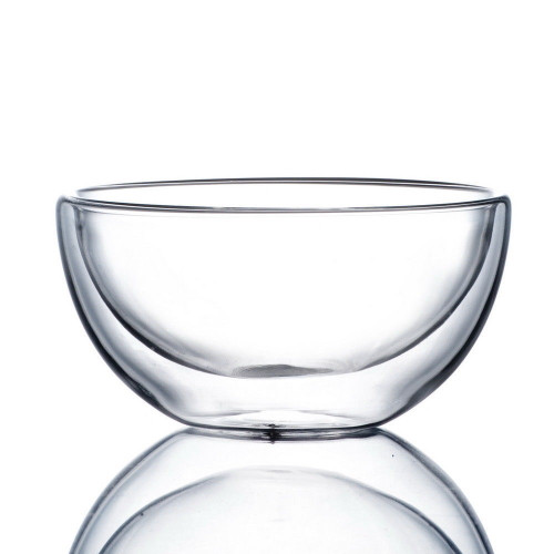 Double Wall Clear Glass Tea Bowl Chawan 500ml 17oz (L)