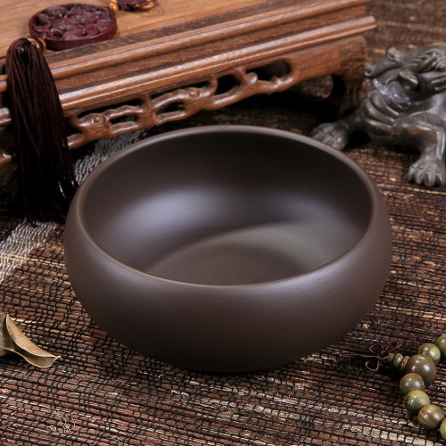 Yixing Clay Dark Brown Cha Xi * Water Bowl for Teacups