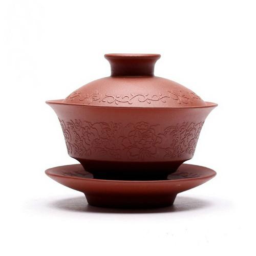 Cha * Handmade Yixing Zisha Clay Brown Gaiwan 110ml