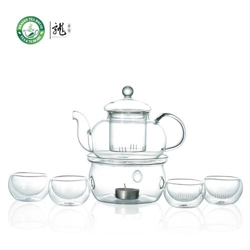 Clear Glass Tea Set 600ml Teapot + Warmer + Double Wall GlassTeacup x 4