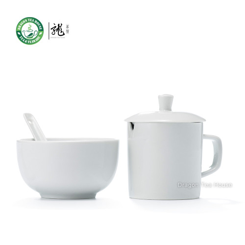 White Porcelain Standard Competition Tasting Set * Bowl & Mug w/t Lid & Spoon