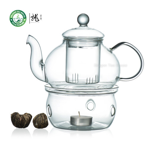 12 Types Blooming Tea + Heat Resistant Glass Teapot 700ml 23.6 oz+ Glass Warmer