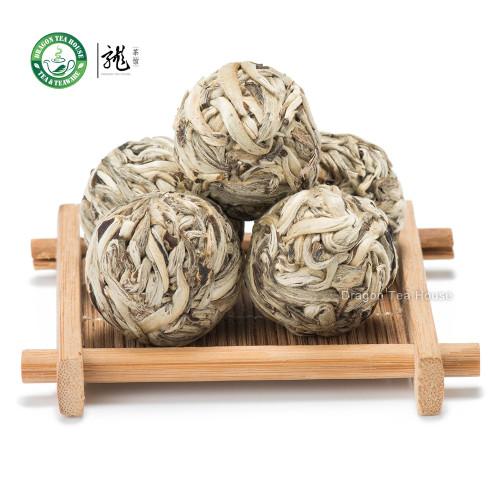 Ball-Shaped Bai Hao Yin Zhen Handmade Silver Needle Pearl White Tea 12 Pcs