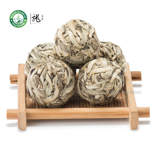 Ball-Shaped Bai Hao Yin Zhen Handmade Silver Needle Pearl White Tea 12 Pcs