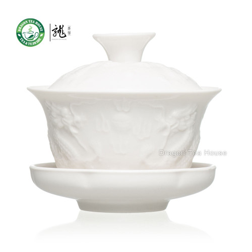 Relief Dragon White Porcelain Gaiwan 90ml 3.04 fl oz