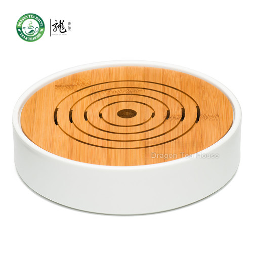Flat Round White Porcelain Bamboo Gongfu Serveware Tea Table Serving Tray ¦Õ23cm
