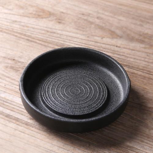 Black Zen Ceramic Teapot Cushion Teacup Coaster Pottery Drip Tray Gongfu Teaware
