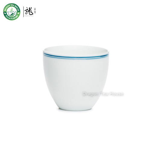 Double Blue Lines White Small Handmade Porcelain Gongfu Tea Cup Teacup 70ml