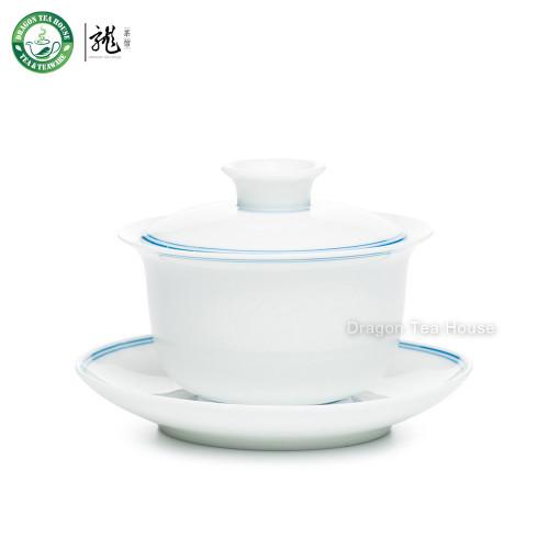 Double Blue Lines White Porcelain Gongfu Handmade Tea Brewing Cup Gaiwan 150ml