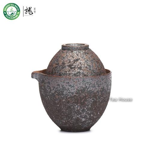 Handmade Wood-Fired Ceramic Portable China Gongfu Tea Cup Teapot Travel Set