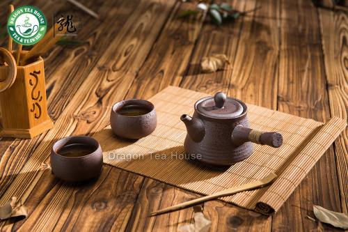 Brown Ceramic Chinese Gongfu Kungfu Tea Set Side Handle Teapot & Teacups 3 Pcs