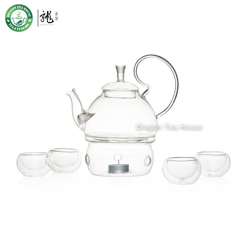 Clear Glass Tea Set Teapot with Filter & Warmer & Four Double Wall Teacups