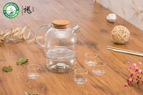 Lead-free Borosilicate Clear Glass Tea Set 970ml Teapot with Warmer Four Teacups