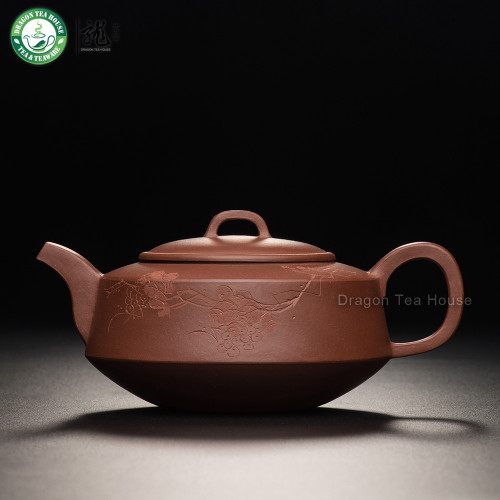 Grape Handmade China Yixing Zisha Red Clay Flat Teapot With Filter 270ml 9.13oz