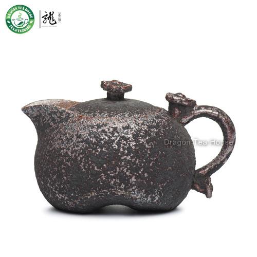 Handmade Wood Fired Ceremic Gongfu Tea Ancient Style Ruyi Teapot 240ml 8.11oz