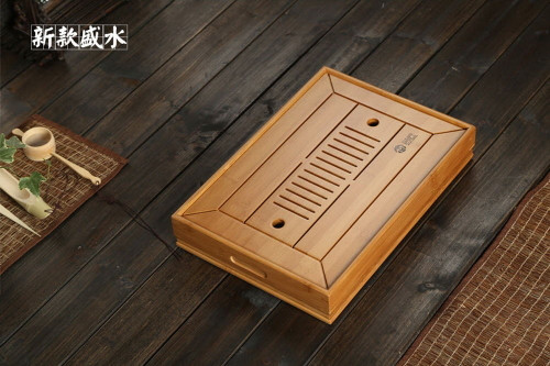 Bamboo Chinese Gongfu Tea Ceremony Table Serving Tray w/t Water Tank 34.5*22.5cm
