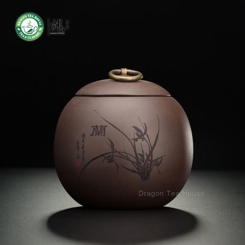 Brown Handmade Yixing Zisha Clay Orchid Tea Caddy Coffee Canister 500ml 16.9 oz