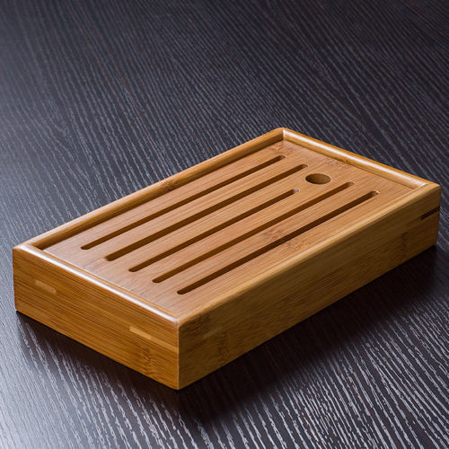 Mini Portable Bamboo Serving Water Tray for Gongfu Tea Ceremony 22x12cm