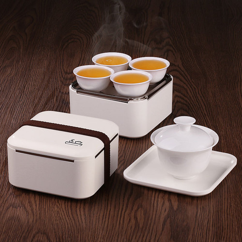 Mini Portable Traveling Gongfu Tea Set Gaiwan Teacups Tea Cloth in Serving Box