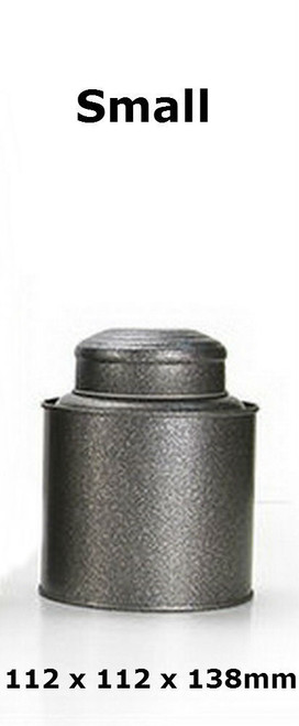 Double Lid Tea Tin Metal Canister Coffee Can Jar Kitchen Storage Food Container Gray Small 112 x 112 x 138mm