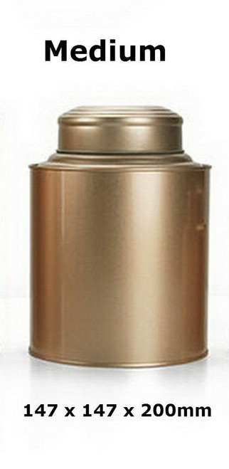 Double Lid Tea Tin Metal Canister Coffee Can Jar Kitchen Storage Food Container Gold Medium 147 x 147 x 200mm