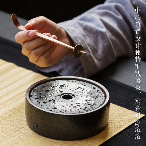 Black Coin Ceramic Teapot Cushion Tea Ceremony Pottery Small Serving Drip Tray