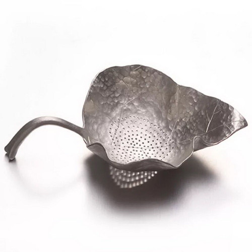 Hand-crafted Leaf Shaped Pure Tin Silver Metal Mesh Loose Tea Filter Strainer