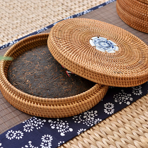 Handmade Rattan Woven Pu-erh Tea Cake Storage Box Canister Kitchen Container Small 22x22x5cm