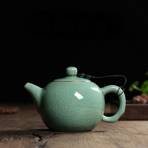 Chinese Longquan Klin Celadon Ceramic Kung Fu Teapot With Filter 240ml 8oz   Ice Veins Aquamarine