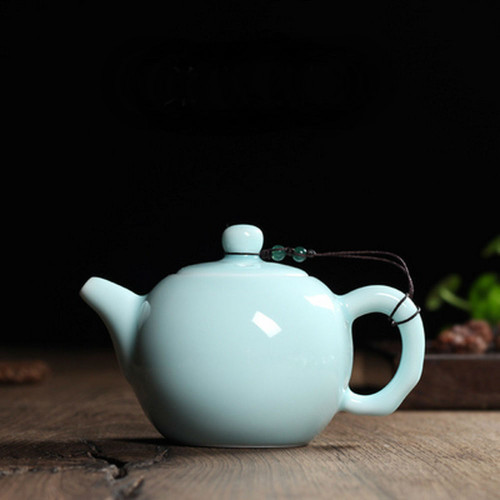 Chinese Longquan Klin Celadon Ceramic Kung Fu Teapot With Filter 240ml 8oz Light Sky Blue