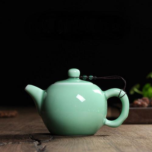 Chinese Longquan Klin Celadon Ceramic Kung Fu Teapot With Filter 240ml 8oz Aquamarine