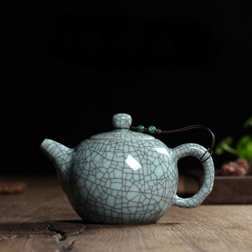 Chinese Longquan Klin Celadon Ceramic Kung Fu Teapot With Filter 240ml 8oz Ice Veins Light Cyan